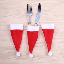 10PCS Christmas Decorative Tableware Knife Fork Set Lovely Hat Storage Tool enfeites de natal