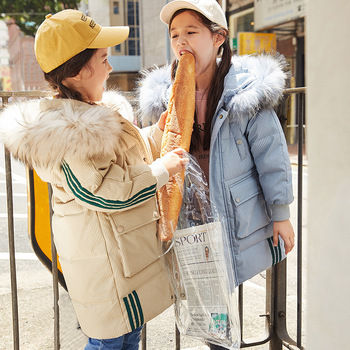 is natural in the girls' long tong han edition with thick white duck down the new 2019 wholesale children's wear coat