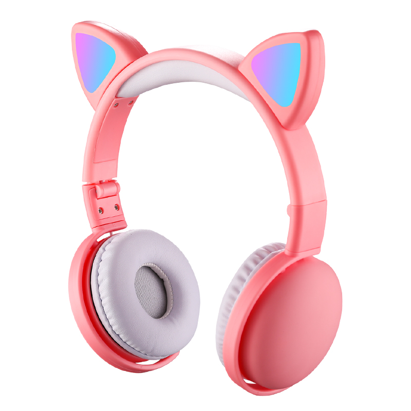 AIKSWE Multiple Color LED <font><b>Cat</b></font> Ear Fold <font><b>Headphones</b></font> <font><b>Bluetooth</b></font> 5.0 HD Voice With Mic Wireless+Wired For Girls Gift and Kids Headset image