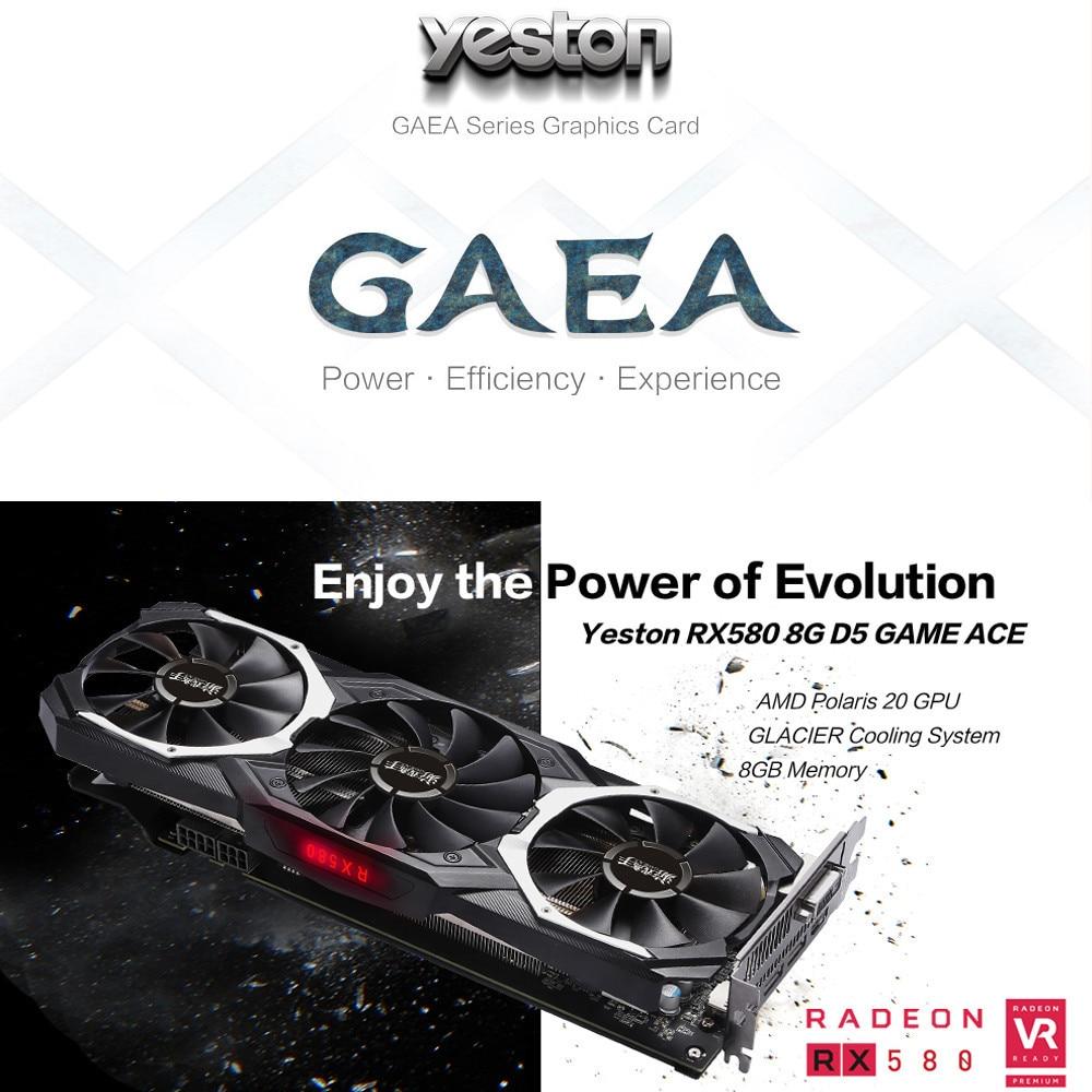 Yeston Radeon RX580 8GB Gpu 256Bit GDDR5 Pci-E 3.0 Video Gaming Graphics Card External Graphics Card For Desktop