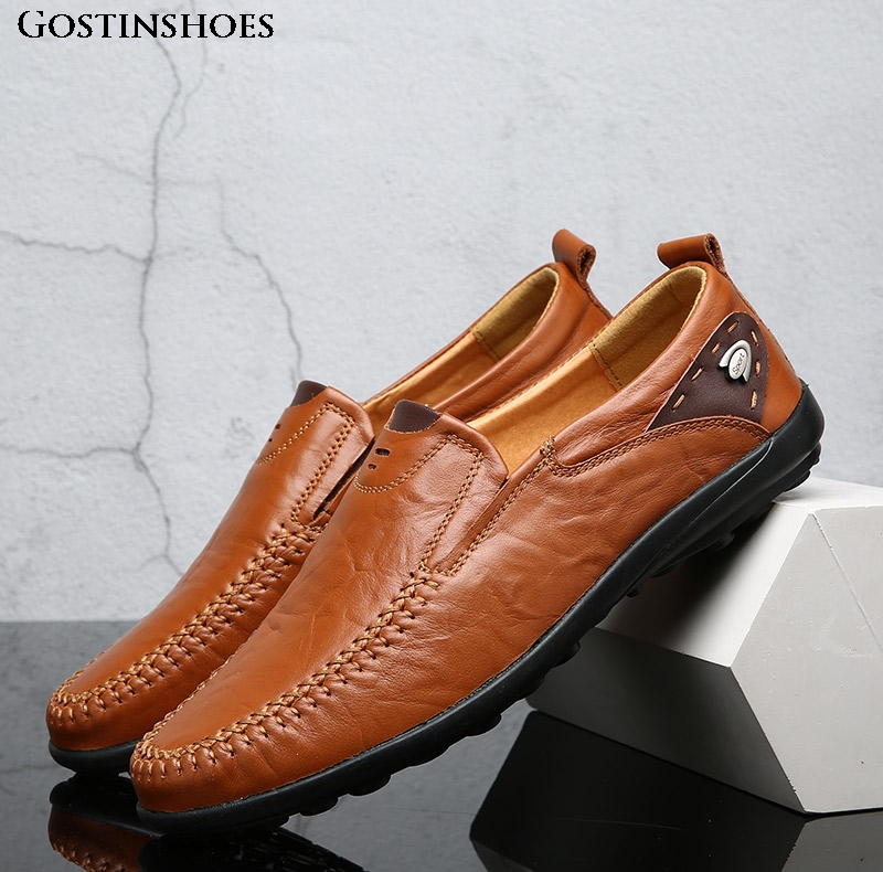 Men Shoes Casual Luxury Genuine Leather Men Loafers Moccasins Slip On Mens Zapatos Black Size 37-47
