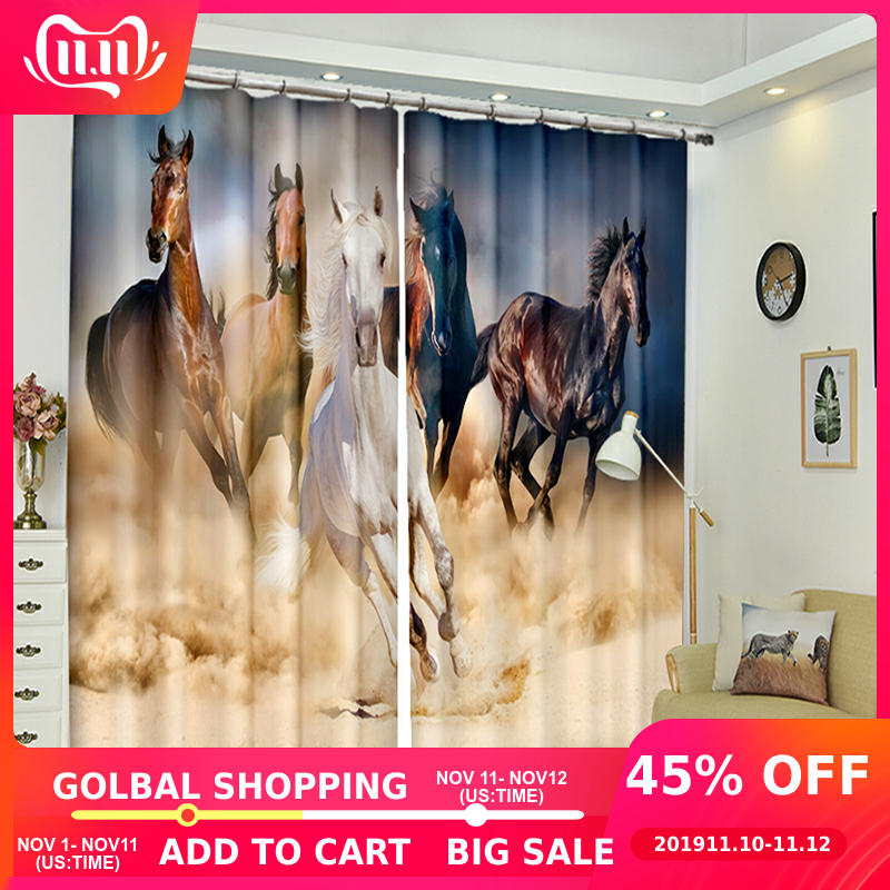 2018 New Office 3D Blackout Window Curtain Japan style Brown Run Quickly Horse Pattern Polyester Bedroom for Living Room