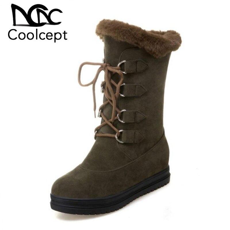 Coolcept kobiety buty śniegowe sznurowane buty klinowe wysokość zwiększenie buty kobiety pluszowe futro platforma moda kobiety Botas obuwie Size34 43 w Buty do połowy łydki od Buty na AliExpress - 11.11_Double 11Singles' Day 1
