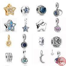 Neastamor sparkling lua & estrelas balançar charme talão caber pandora pulseira original prata 925 diy moda feminina jóias fazendo