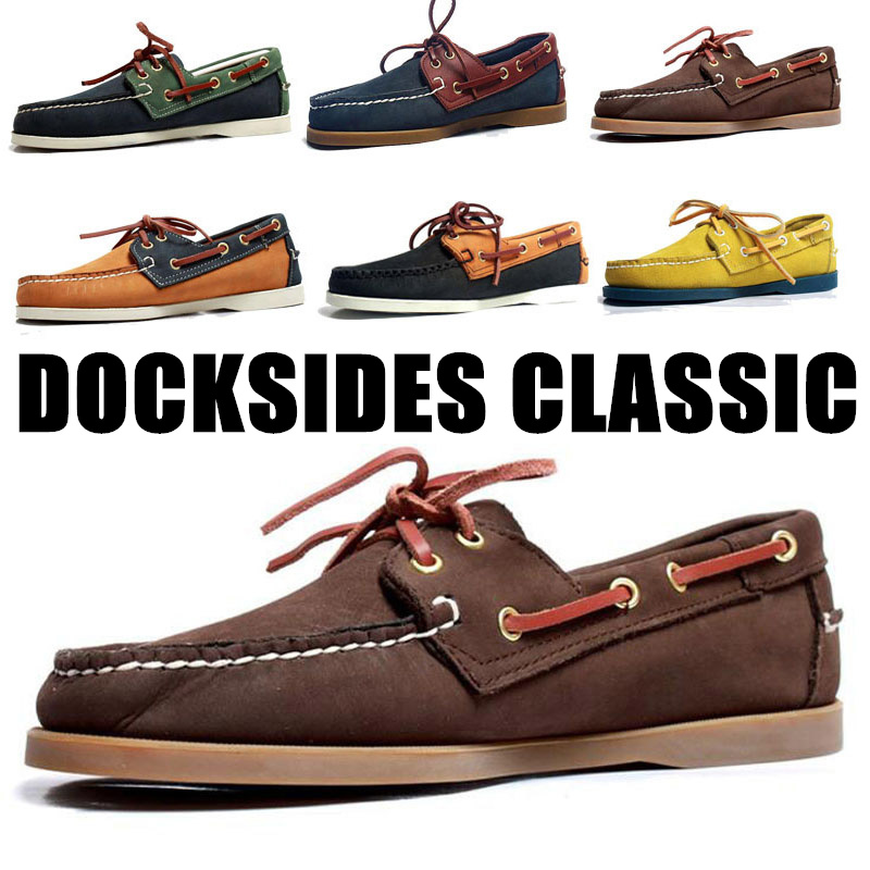 Men Women Spinnaker Genuine Nubuck Leather Docksides Classic Loafers Boat Shoes For Homme Femme Hombre Y076