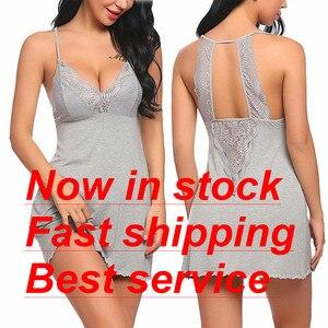Roupa de noite de algodão feminino profundo decote em v espaguete cinta de renda aparado hem boneca sleepwear vestido