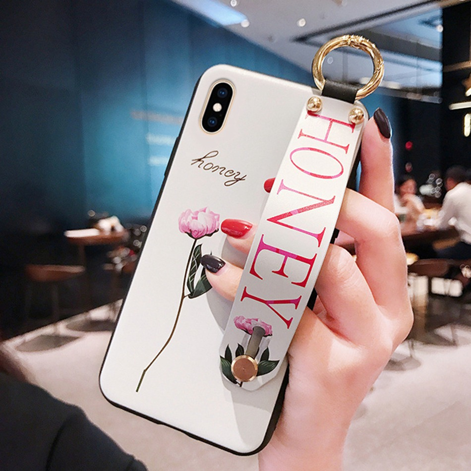 For Huawei P Smart 2019/honor 10 Lite Case Fashion Flower Lanyard Floop Stand Cover For Honor 10i 8X 9X 20 9 Lite Soft TPU Case(China)