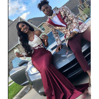Sexy Burgundy Satin Mermaid Prom Dresses South African Black Girls V-Neck Lace Appliques Beaded Prom Gowns Long Formal Dress
