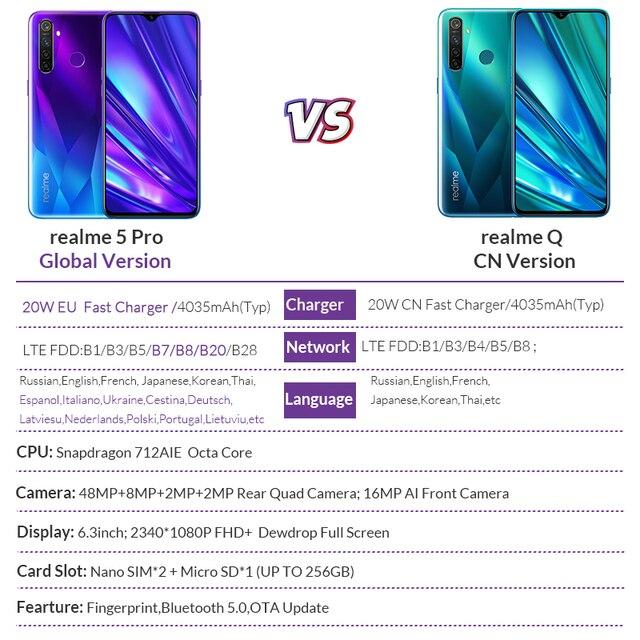Realme 5 pro 4GB 128 GB 6.3 ''téléphone mobile Snapdragon 712 AIE Octa Core 48MP Quad caméra téléphone portable 20W chargeur rapide