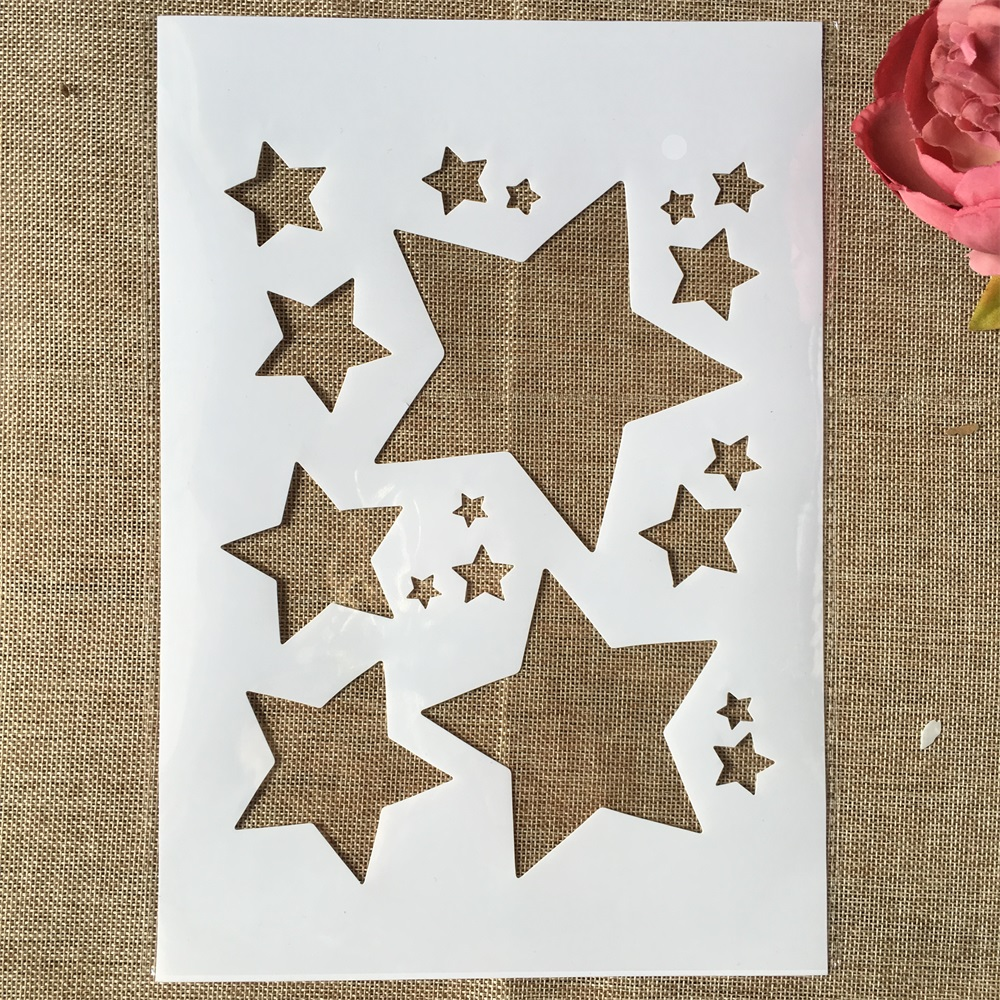 29cm A4 Shine Stars DIY Layering Stencils Wall Painting Scrapbook Coloring Embossing Album Decorative Template