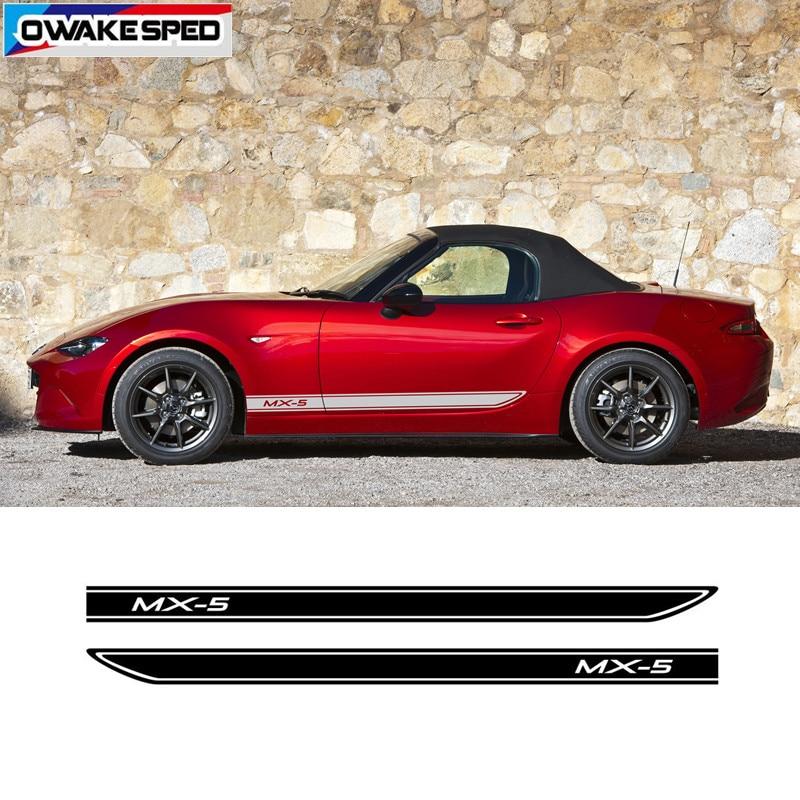 Estilo do carro porta lateral saia listras auto corpo decoração adesivos carro personalizado esporte de corrida vinil decalque para mazda MX-5 3 portas