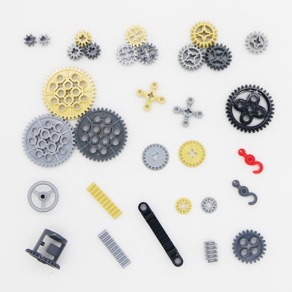 Bricks Technical Gear Parts Worm Rack Classic Accessories Creator MOC Train Car DIY Crane Model Building Blocks Toy for Children