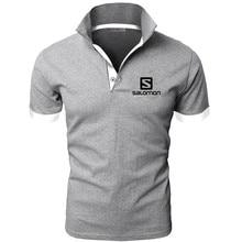 Polo shirt brand Salomon printing 2019 new fashion mens lapel Slim breathable casual classic