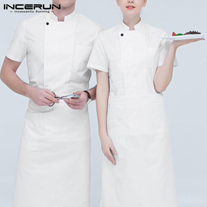 INCERUN Chef Uniforms Short Sleeve Solid Waiter Kitchen Catering Restaurant Food Service Clothes 2019 Unisex Tops Plus Size 5XL