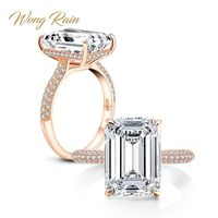 Wong Rain 100% 925 Sterling Silver 6 CT Emerald Cut Created Moissanite Gemstone Wedding Engagement Ring Fine Jewelry Wholesale