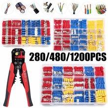 Terminales de crimpado de cable surtido, Kit de conectores de cable eléctrico o 1 crimpadora, 280/480/1200 Uds.