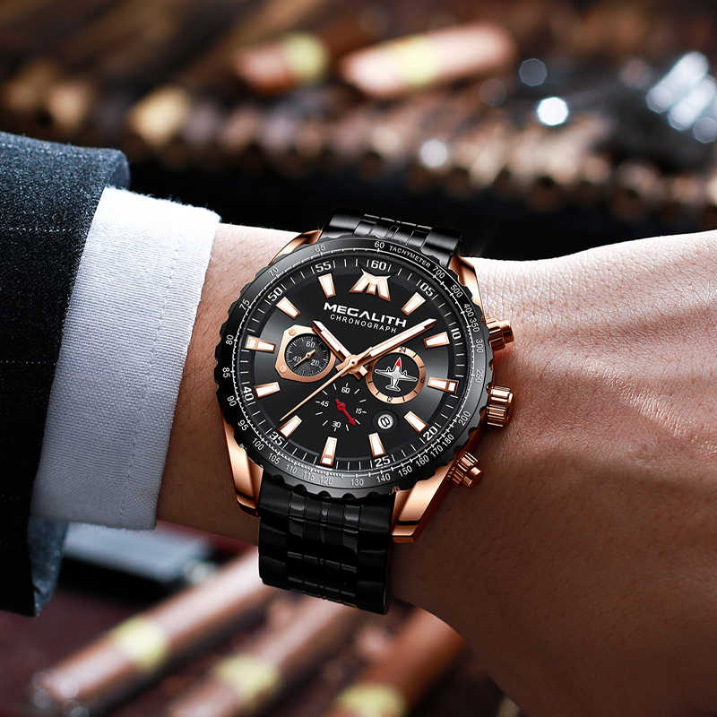 MEGALITH Sport montre hommes avion pointeur calendrier mâle horloge plein acier étanche pilote série montre à Quartz Relogio Masculino