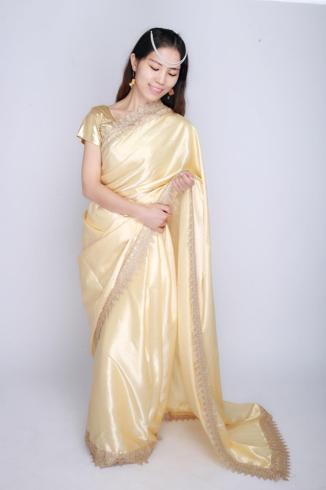 Indian Pakistani Dress Saree Kurti Sarees For Women Clothing  Golden In Lehenga Choli India Sari