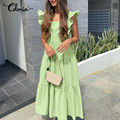 Celmia Women Backless A-line Dress 2021 Summer Sexy Square Collar Maxi Sundress Casual Holiday Ruffled Sleeveless Vestidos S-5XL