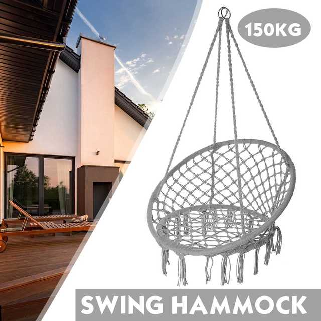 150KG Round Hammock Chair Outdoor Indoor Dormitory Bedroom Yard For Child Adult Swinging Hanging Single Safety Chair Hammock 2