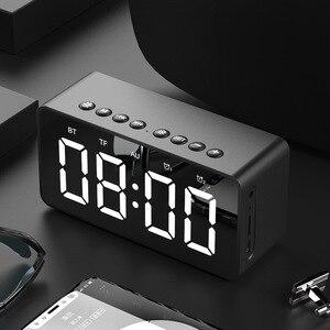 Image 3 - Портативная Bluetooth колонка с супербасами, беспроводной сабвуфер, Стереодинамик с поддержкой TF, AUX, зеркальный будильник для телефона, компьютера