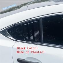 Lapetus Auto Styling Rear Side Window Louvers Scoop Vent Cover Trim Fit For Mazda 6 Sedan 2019 2020 Plastic Black Carbon Fiber