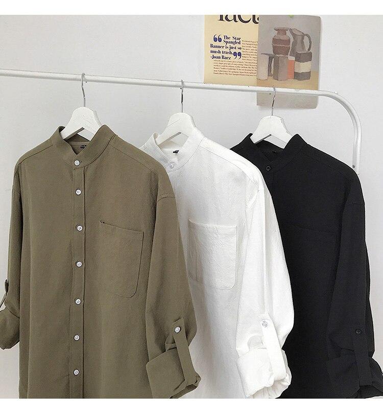 H805be5ae0a734ec59c05e385b40652d2J Simple Design Solid Colors Long Sleeve Shirts Korean Fashion Mandarin Collar 100% Cotton White Black Shirt Soft and Comfort