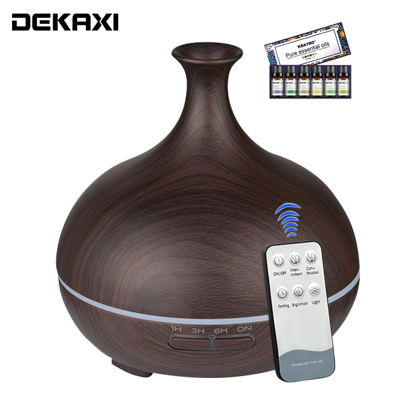 DEKAXI 300ml Remote Control Wood Grain Air Humidifier Aromatherapy Ultrasonic Cool Mist Aroma Essential Oil Diffuser For Home