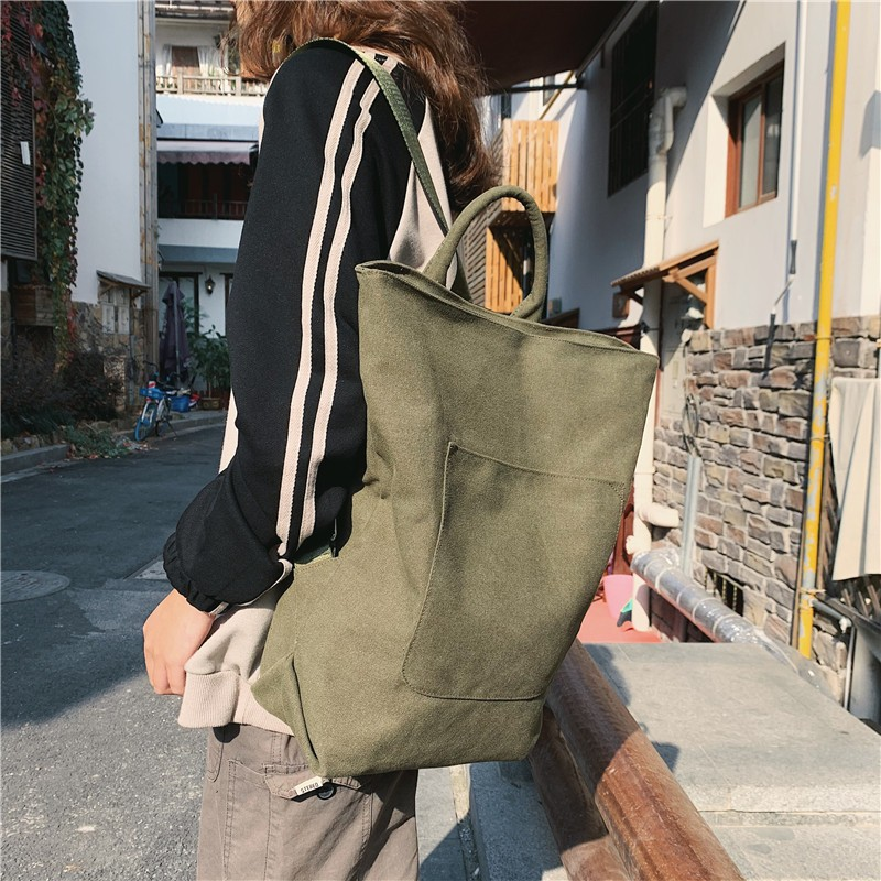 Literary Backpack Unisex Fashion Student Personality School Bag Trend Bagpack Large Capacity Simple Youth Unique Bag Solid Color