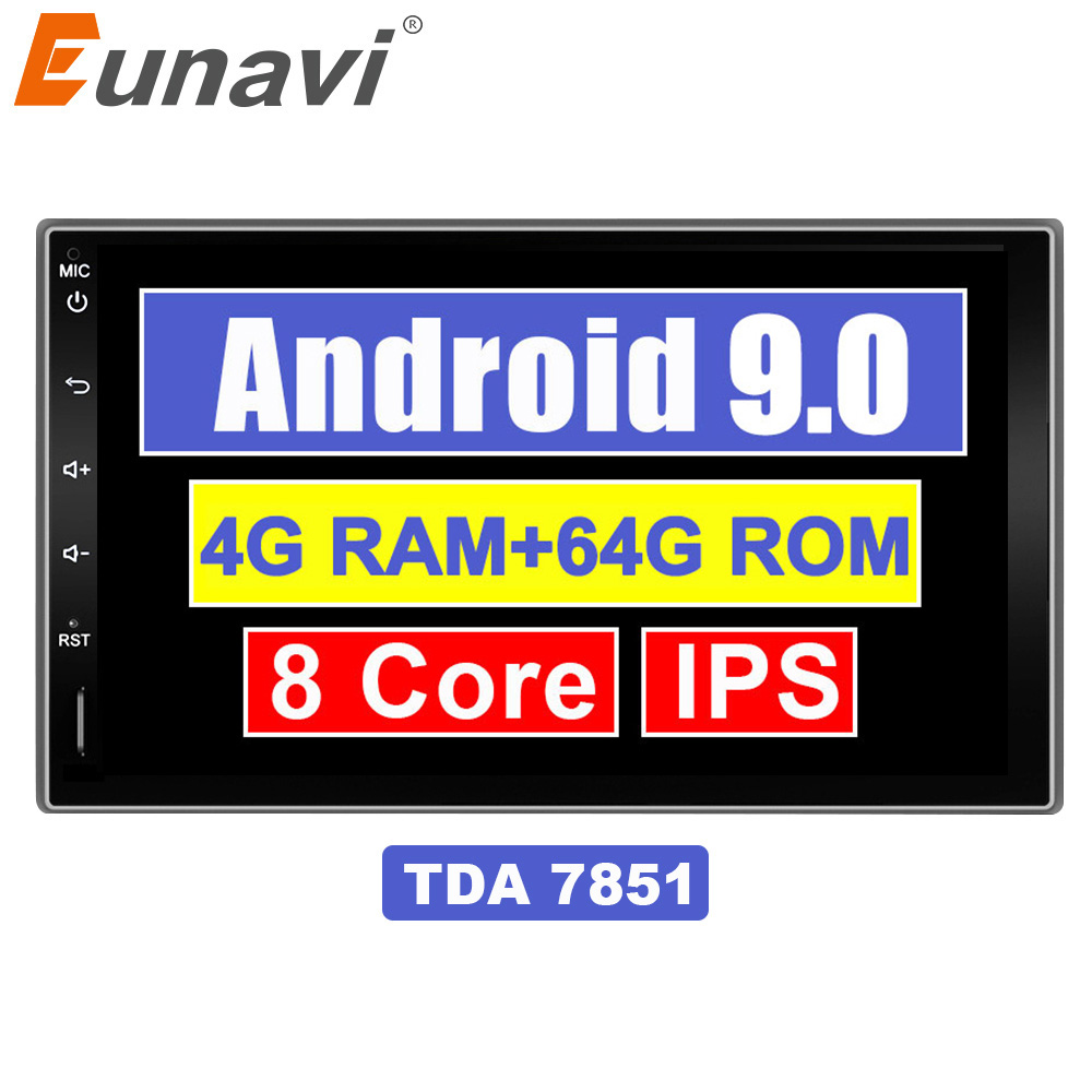 Eunavi 7'' 2 Din Android 9,0 Auto Multimedia Radio Stereo Tap PC Tablet in dash 2din Universal 1024*600 GPS-Player 4G 64G IPS