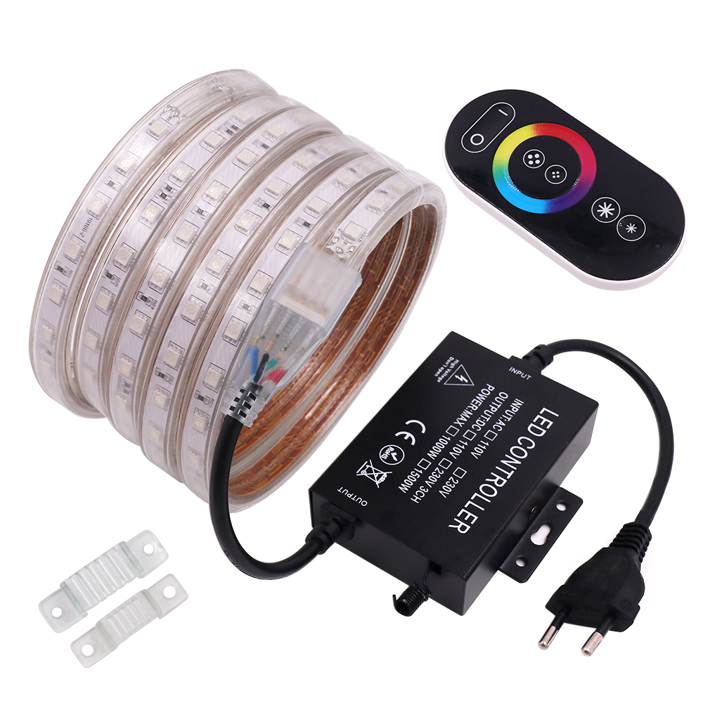 LED Strip RGB 5050 220V 240V 60LED Waterproof With 1500W Drive Controller RF Touch Remote LED Tape Rope Light Home Decoration