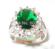 Green Zircon Gem Silver Crystal Ring Size: 7.8.9/ Free Shiping 1Pcs(China)