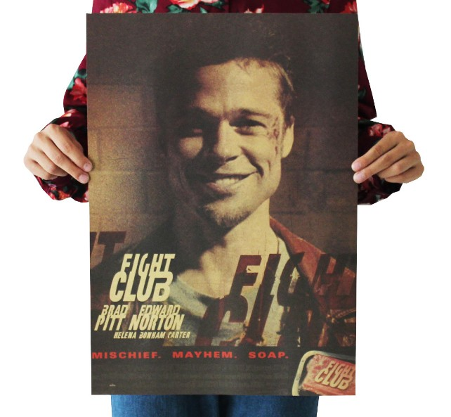 Fight Club Vintage Kraft Paper Classic Movie Poster Map School Wall Office Decoration  Art  Retro Prints