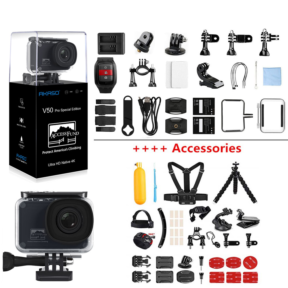 AKASO V50 Pro SE accès fonds édition spéciale Action caméra écran tactile 4K étanche caméra WiFi télécommande sport caméra