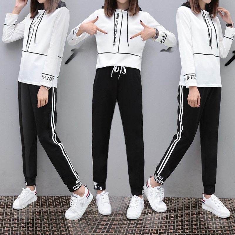 Sports Casual WOMEN'S Suit Hoodie Trousers Korean-style-Style Running Two-Piece Women's