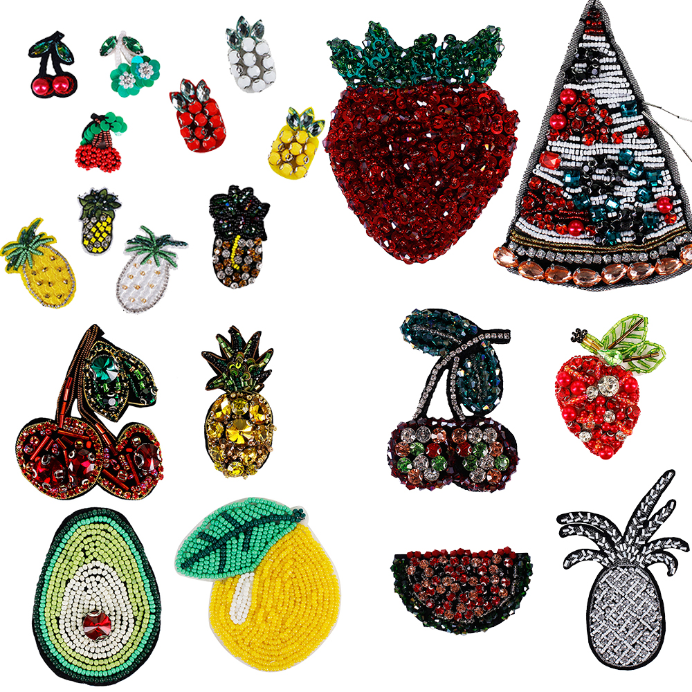 A Set Lemon Embroidery Bead Crystal Sew Iron On Patch Badge Jeans Applique DIY