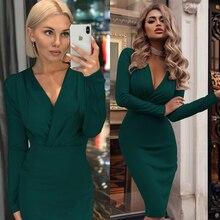 Женский винтажный сексуальный, облегающий, в обтяжку вечерние платья с длинным рукавом с глубоким v-образным вырезом, однотонное повседневное элегантное платье, зимнее новое модное платье