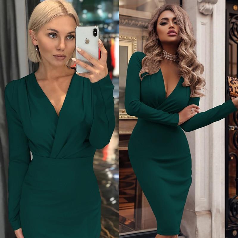 Women Vintage Sexy Bodycon Slim Party Dress Long Sleeve Deep V Neck Solid Casual Elegant Dress 2019 Winter New Fashion Dress
