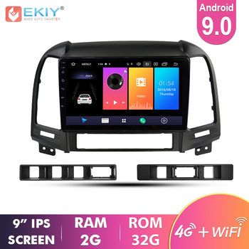 Ekiy 9'' IPS Android 9.0 Not 2 Din Car Multimedia AutoRadio For Hyundai SANTA FE 2005-2012 GPS Navigation Stereo Video Player image