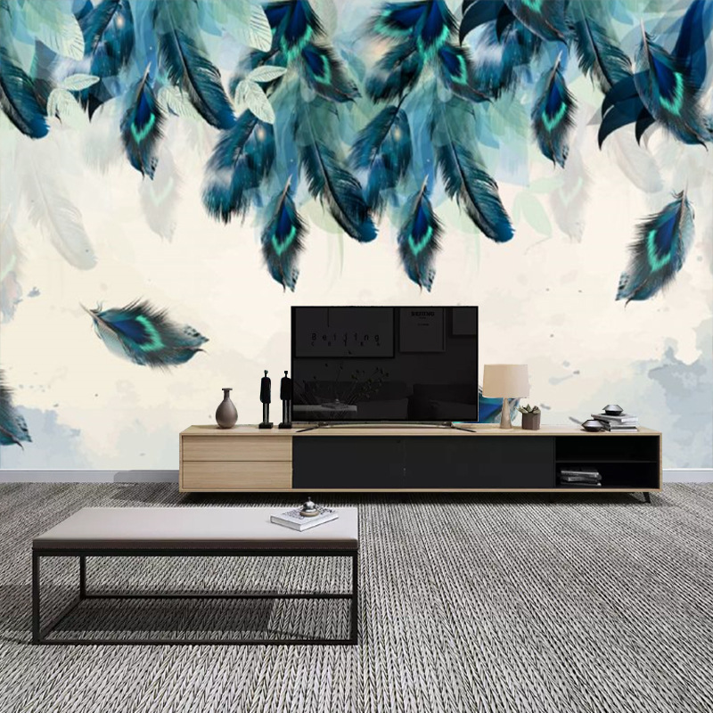 Northern European-Style Living Room Modern Minimalist TV Backdrop Wallpaper American-Style Hipster Wallpaper Color Feather Mural