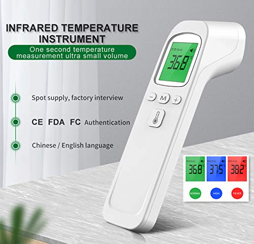Infrared Forehead Digital Thermometer Gun IR Laser Non Contact Thermometer with 3 Color Backlight Display for Baby Adults Indoor 1