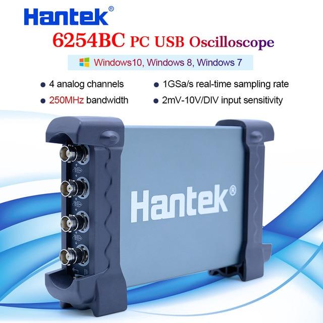 Hantek 6254BC מחשב USB אוסצילוסקופ 4 CH 250MHz 1GSa/s צורת גל שיא ותפקוד שידור חוזר
