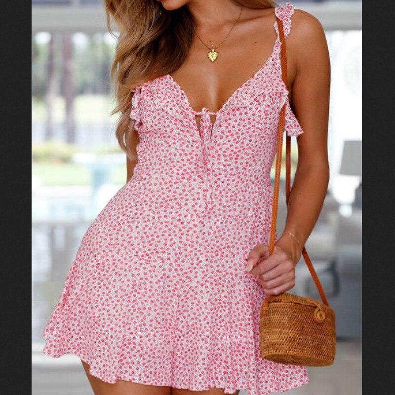 Women Summer Floral Ruffles Deep V Neck Sexy Short Maxi Dress Evening Party Beach Dress Sundress