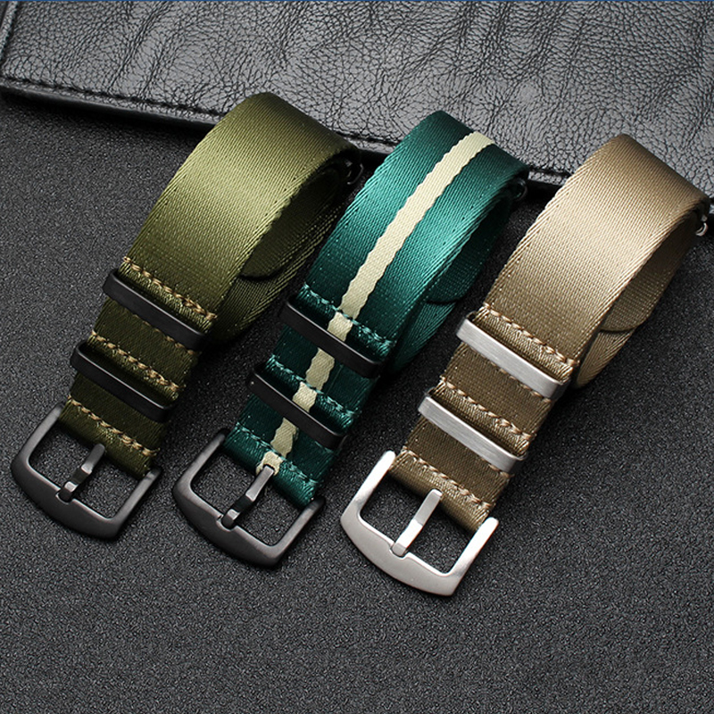 High Quality 20mm 22mm Nylon Seatbelt Watch Band Nato Strap For James Bond Military Watch Wristwatch Bands Replacement #C