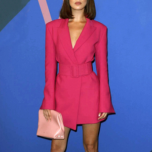 Image 4 - TWOTWINSTYLE FlareแขนยาวNotched Collar RoseสีชมพูBlazerชุดเข็มขัดผู้หญิงผู้หญิงชุดมินิ2020ฤดูใบไม้ร่วง