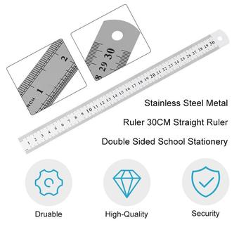 30cm Stainless Steel Metal Straight Ruler Measurement Double Sided for Sewing Foot Sewing & School Stationery Multi-Function Mea image