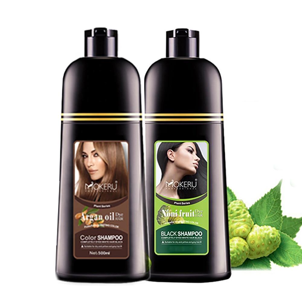 Mokeru 2pcs/Lot 500ml Natural Fast Dying Long Lasting Argan Oil and Noni Essence Hair Color Dye Shampoo For Women
