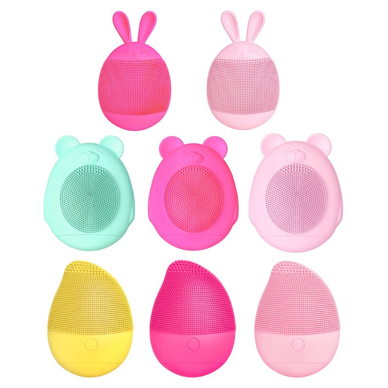 Lovely Shapes Silicone Electric Facial Cleansing Brush Face Washing Machine Ultrasonic Vibration Cleanser