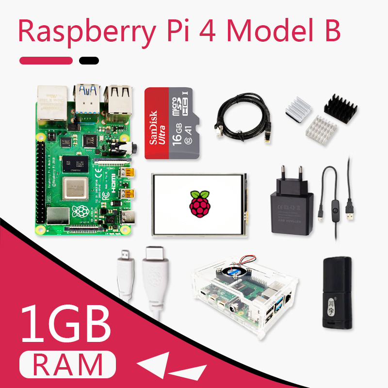 Original Raspberry Pi 4 Model B Kit Pi4 1G Board Micro HDMI Cable Power Supply With Switch Case With Fan Heat Sinks