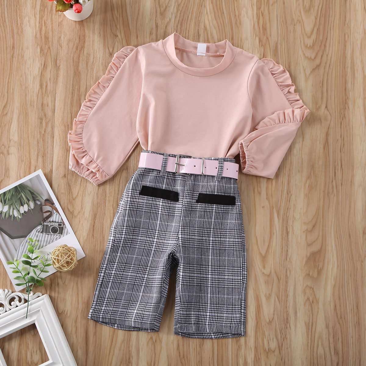 3Pcs//Set Toddler Kids Baby Girl Ruffle Plaid Tops Pants Leggings+Headband Outfit Clothes Sets1-6Y